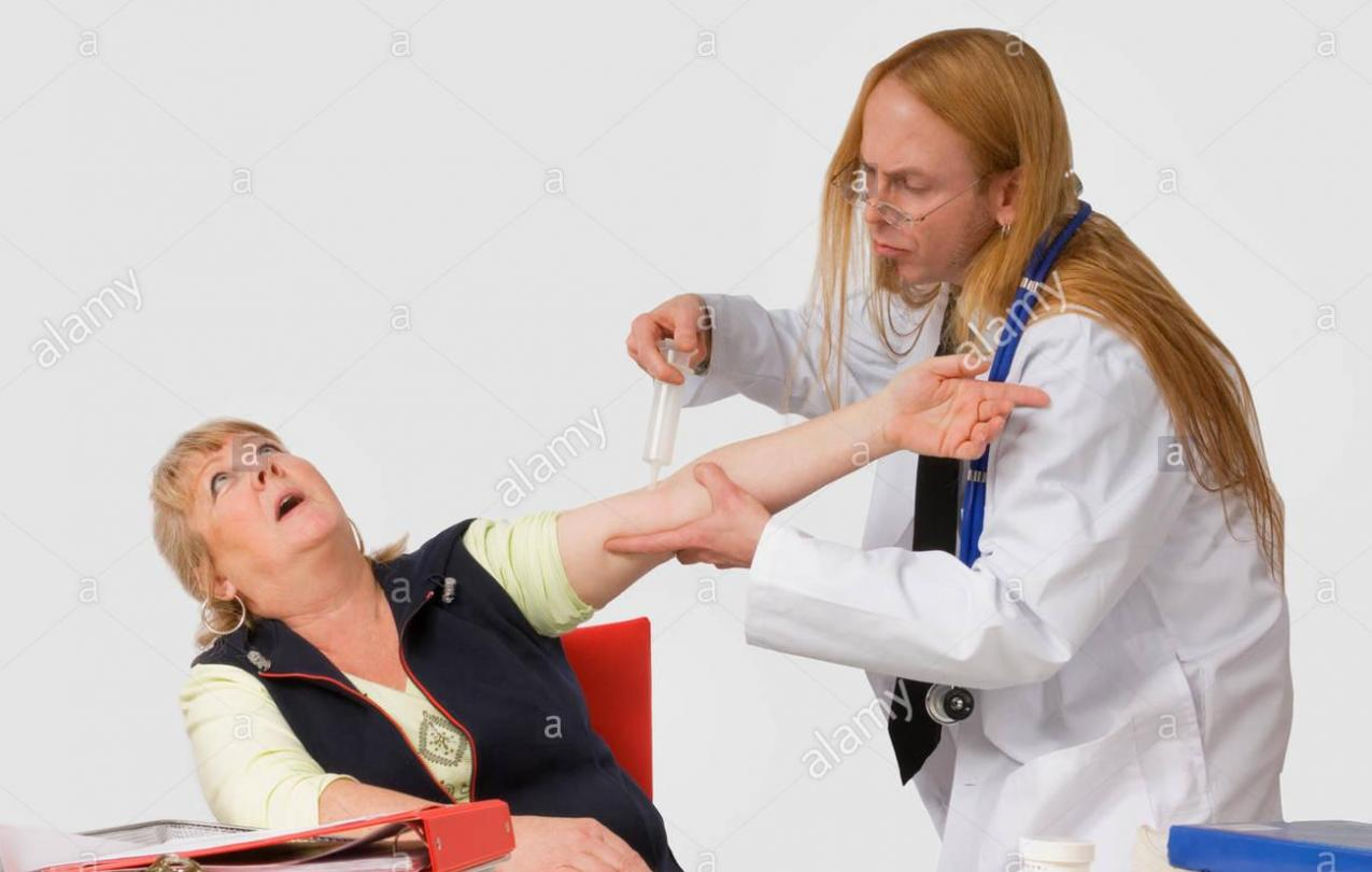 Image of a funny doctor giving a shot.